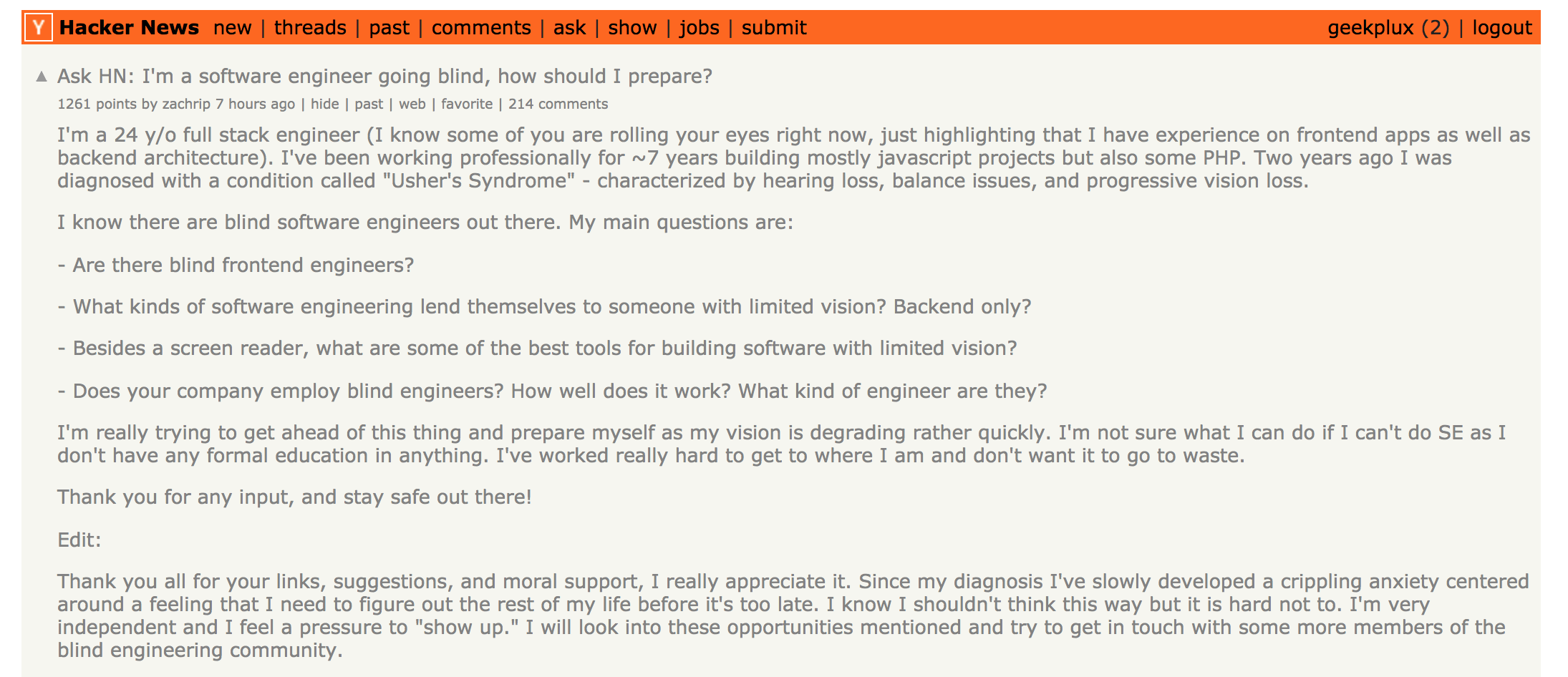 Screen Shot on Hacker News